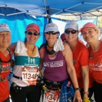 At the aid station, Anna Perne, Saundra Whitehead, Donna Canterna, me, Patty Thompson, and Alessandra Verduzco.